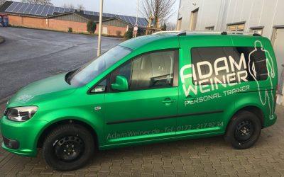 Autobeschriftung VW Caddy Adam Weiner Personal Trainer Düsseldorf