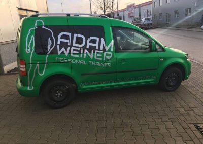 Autobeschriftung-Monheim-Caddy-Adam-Weiner-Personal-Trainer-Seitenansicht