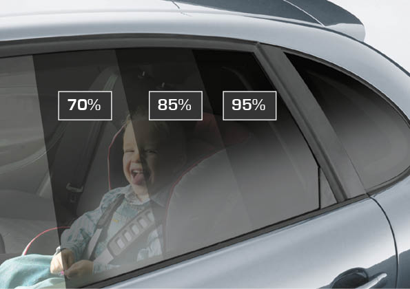 Kind sitzt im Auto und schaut aus Fensterscheibe. Man sieht die verschiedenen Stufen der Scheibentöung. Verdnuklung bei Scheibentönung 70%, 85 % und 95%