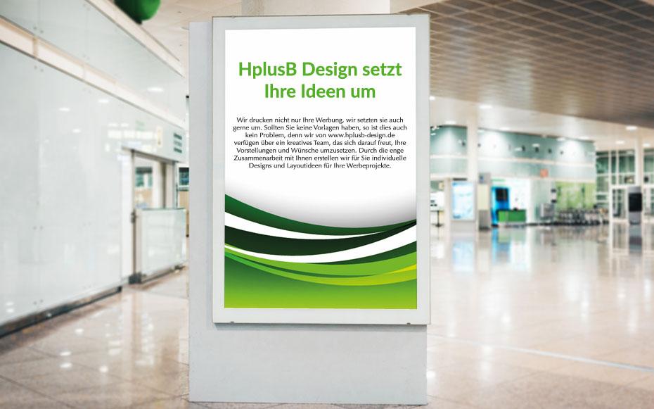 City-light-Poster, bedruckt mit grünen Wellen und dem Schriftzug