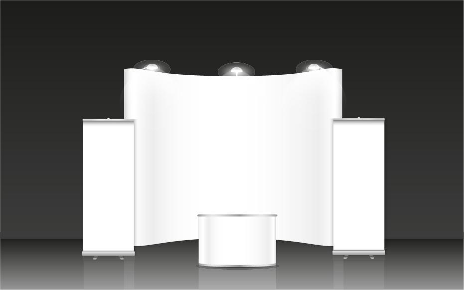 Unbedrucktes, weißes Infostand- oder Messedisplaysystem bestehend aus zwei Roll up Displays links und rechts Außen, einer Pop up Wand in der Mitte und vorne eine Pop up Theke.
