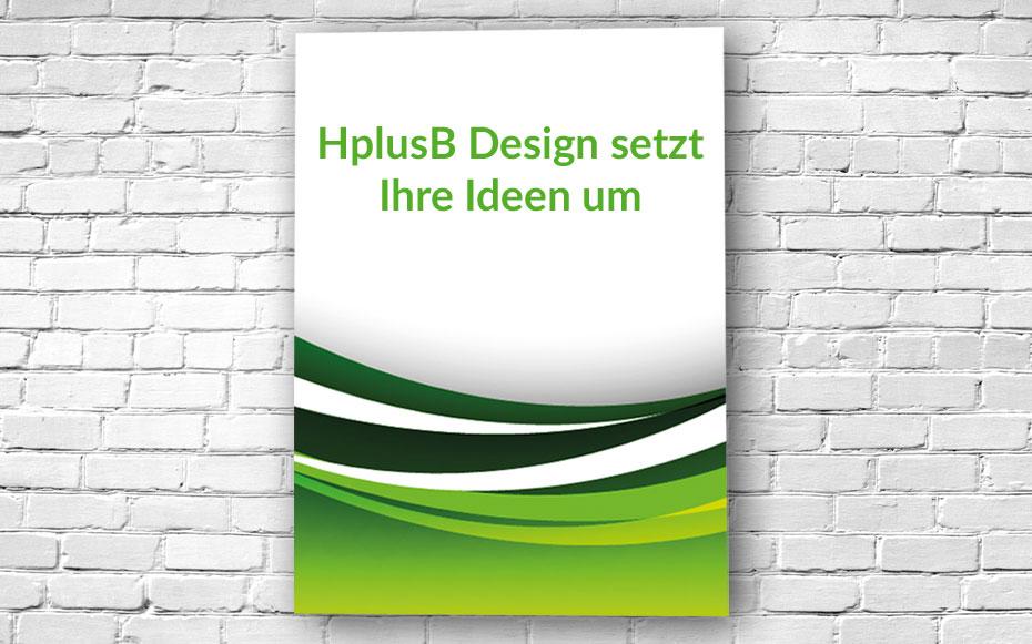 Posterdruck an einer weißen Steinwand befestigt. Das Poster ist bedruckt mit grünen Wellen und dem Schriftzug