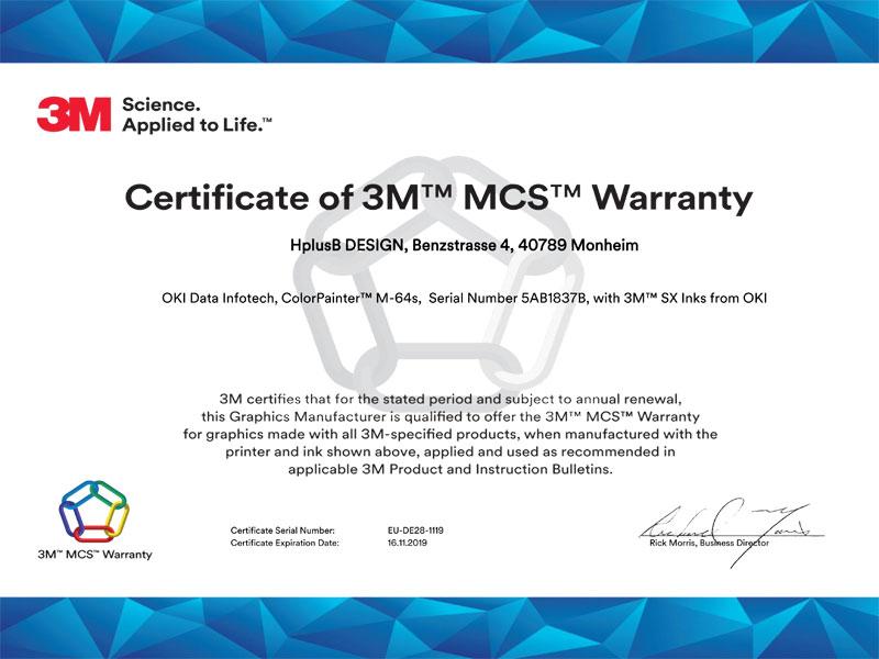 HplusB Design Zertifikat 3M MCS Garantie