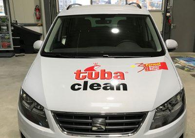 Autofolie für Autowerbung tuba clean Frontansicht