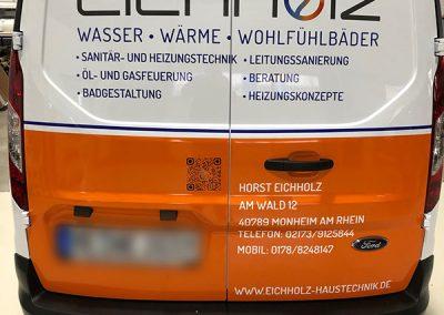 Rückansicht Autofolierung für KFZ der Firma Eichholz Haustechnik in Monheim