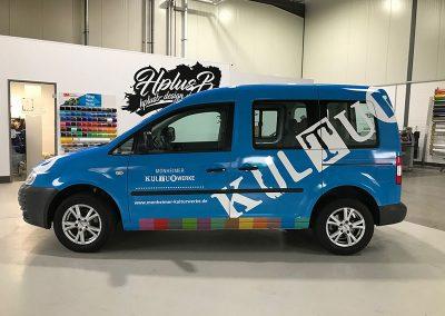 Seitenansicht Car Wrapping für Kfz der Monheimer Kulturwerke in blau von HplusB Design